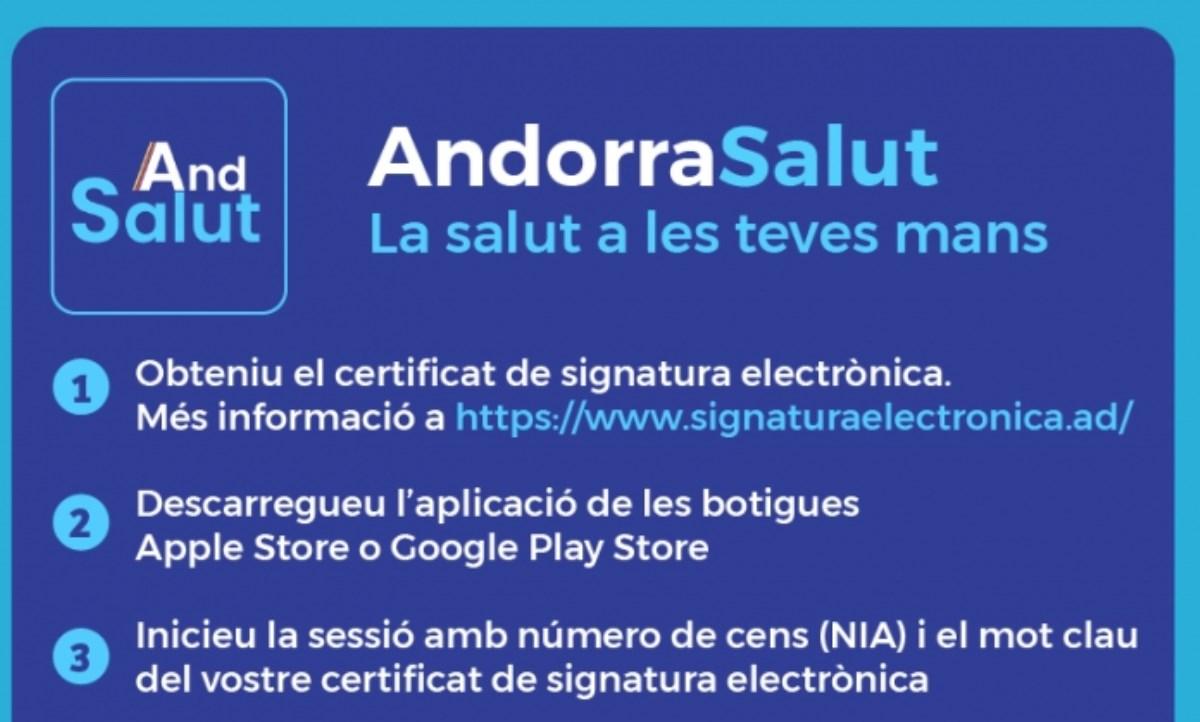 Descarrega't l'aplicació AndorraSalut que conté la informació relativa al procés de vacunació, les proves o el certificat de recuperació de la COVID-19